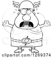 Clipart Of A Black And White Cartoon Scared Screaming Chubby Greek Olympian God Hermes Royalty Free Vector Illustration