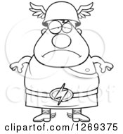 Clipart Of A Black And White Cartoon Depressed Chubby Greek Olympian God Hermes Royalty Free Vector Illustration