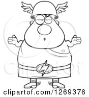 Clipart Of A Black And White Cartoon Careless Shrugging Chubby Greek Olympian God Hermes Royalty Free Vector Illustration