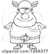 Clipart Of A Black And White Cartoon Happy Chubby Greek Olympian God Hermes Royalty Free Vector Illustration