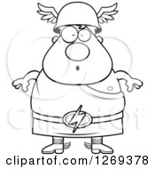Clipart Of A Black And White Cartoon Surprised Chubby Greek Olympian God Hermes Royalty Free Vector Illustration