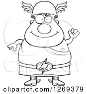 Clipart Of A Black And White Cartoon Friendly Waving Chubby Greek Olympian God Hermes Royalty Free Vector Illustration