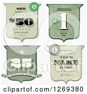 Clipart Of Vintage Cash Money Styled Shield Designs Royalty Free Vector Illustration by BestVector