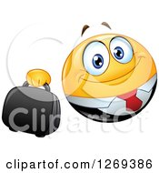 Clipart Of A Happy Businessman Smiley Emoticon Holding Out A Briefcase Royalty Free Vector Illustration