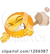 Farting Yellow Smiley Emoticon Clenching His Teeth And Letting It Rip