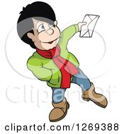 Clipart Of A Friendly Boy Holding Out An Envelope Royalty Free Vector Illustration by dero
