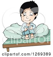Clipart Of A Thoughtful Cartoon Boy Sitting Up And Hugging His Knees In Bed Royalty Free Vector Illustration by dero