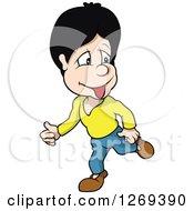 Clipart Of A Cartoon Boy Walking Royalty Free Vector Illustration by dero