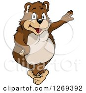 Happy Cartoon Bear Leaning On An Invisible Wall