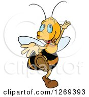 Clipart Of A Happy Cartoon Blue Eyed Bee Dancing Royalty Free Vector Illustration by dero