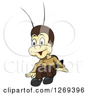 Clipart Of A Cartoon Excited Cricket Royalty Free Vector Illustration by dero
