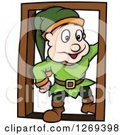 Happy Cartoon Dwarf Man In A Doorway