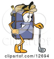 Suitcase Cartoon Character Leaning On A Golf Club While Golfing