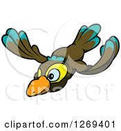 Cartoon Flying Brown Turquoise And Yellow Bird