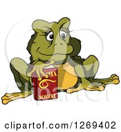 Clipart Of A Cartoon Female Toad With A Book Royalty Free Vector Illustration by dero