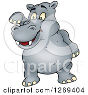 Clipart Of A Cartoon Hippo Lifting A Leg Royalty Free Vector Illustration by dero