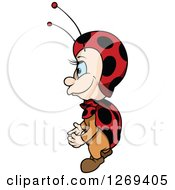 Clipart Of A Cartoon Blue Eyed Ladybug Facing Left Royalty Free Vector Illustration by dero