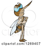 Clipart Of A Mad Cartoon Blue Eyed Mosquito Royalty Free Vector Illustration by dero