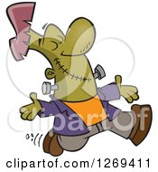 Clipart Of A Cartoon Happy Frankenstein Walking With His Arms Open And Face Upwards Royalty Free Vector Illustration