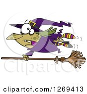 Clipart Of A Cartoon Green Witch Hanging On To A Runaway Broom Royalty Free Vector Illustration