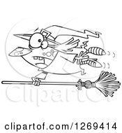 Clipart Of A Black And White Cartoon Witch Hanging On To A Runaway Broom Royalty Free Vector Line Art Illustration by toonaday
