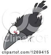 Clipart Of A Cartoon Spooky Halloween Crow Royalty Free Vector Illustration by toonaday