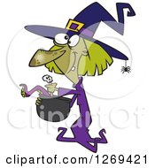 Clipart Of A Cartoon Green Halloween Witch Making Soup Royalty Free Vector Illustration
