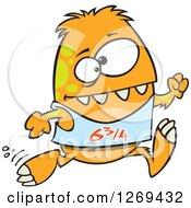 Cartoon Athletic Orange Monster Running A Marathon