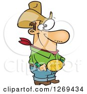 Clipart Of A Cartoon Caucasian Cowboy Man Showing His Bull Belt Buckle Royalty Free Vector Illustration by toonaday