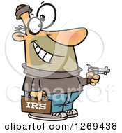 Clipart Of A Cartoon Caucasian IRS Theft Man Holding A Gun Royalty Free Vector Illustration