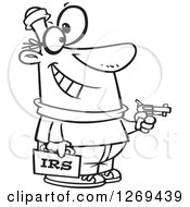Clipart Of A Black And White Cartoon IRS Theft Man Holding A Gun Royalty Free Vector Line Art Illustration by toonaday