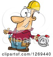 Clipart Of A Cartoon Caucasian Handy Man Decked Out With Tools And Holding A Thumb Up Royalty Free Vector Illustration