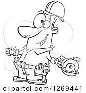 Black And White Cartoon Handy Man Decked Out With Tools And Holding A Thumb Up