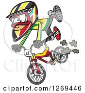 Clipart Of A Cartoon Caucasian Little Boy Catching Air On A Bmx Bike Royalty Free Vector Illustration by toonaday