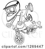 Clipart Of A Black And White Cartoon Little Boy Catching Air On A Bmx Bike Royalty Free Vector Line Art Illustration by toonaday