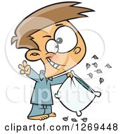 Clipart Of A Cartoon Caucasian Little Boy Pillow Fight Champion Cheering Royalty Free Vector Illustration