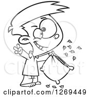Clipart Of A Black And White Cartoon Little Boy Pillow Fight Champion Cheering Royalty Free Vector Line Art Illustration by toonaday