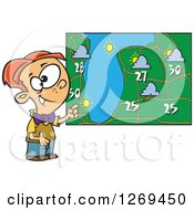 Cartoon Caucasian Weather Boy Discussing By A Map