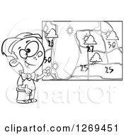 Black And White Cartoon Weather Boy Discussing By A Map