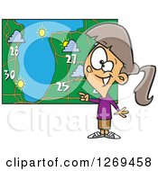 Clipart Of A Cartoon Caucasian Weather Girl Discussing By A Map Royalty Free Vector Illustration