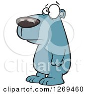 Clipart Of A Cartoon Sad Blue Bear Facing Left Royalty Free Vector Illustration