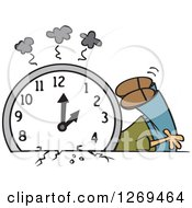 Clipart Of A Cartoon Man Crushed Under A Fall Back Clock Royalty Free Vector Illustration by toonaday