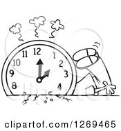 Clipart Of A Black And White Cartoon Man Crushed Under A Fall Back Clock Royalty Free Vector Line Art Illustration by toonaday