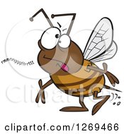 Clipart Of A Cartoon Mumbling Bumble Bee Royalty Free Vector Illustration