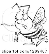 Clipart Of A Black And White Cartoon Mumbling Bumble Bee Royalty Free Vector Line Art Illustration by toonaday