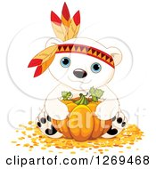 Clipart Of A Cute Thanksgiving Polar Bear Hugging A Pumpkin And Wearing A Feather Head Band Royalty Free Vector Illustration