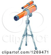 Clipart Of An Orange Telescope On A Tripod Royalty Free Vector Illustration