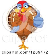 Clipart Of A Cute Thanksgiving Turkey Bird Giving A Thumb Up Royalty Free Vector Illustration
