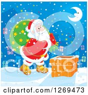 Clipart Of Santa Claus Carrying A Sack And Walking On A Roof On A Snowy Christmas Eve Night Royalty Free Vector Illustration