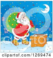 Clipart Of A Cartoon Santa Carrying A Sack And Walking On A Roof On A Snowy Christmas Eve Night Royalty Free Vector Illustration